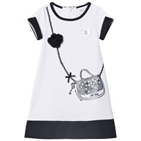 Le Chic White and Navy Handbang and Flower Applique Dress 001