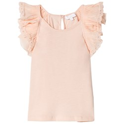 Chloé Light Pink Frills Embroidered Tank Top