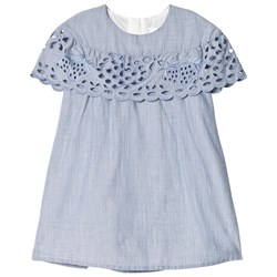 Chloé Denim Blue Broderie Anglaise Ruffle Dress