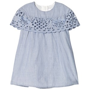 Image of Chloé Denim Blue Broderie Anglaise Ruffle Dress 3 years (3065506801)