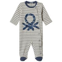 United Colors of Benetton Stripe Pyjamas With Logo Print Open Front Grey Black