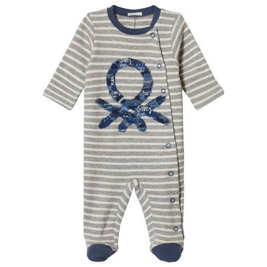 United Colors of Benetton Randig Pyjamas with Logo Print i Grå Grey