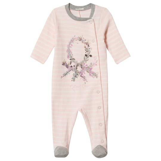 United Colors of Benetton Stripe Pyjamas With Floral Logo Print Open Front Pink Pink