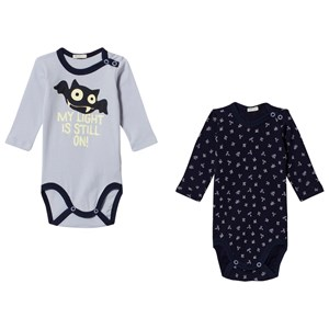 Image of United Colors of Benetton 2 Pack L/S Bat Print Bodys Blue&Navy 74 (9-12 mdr) (2913894345)