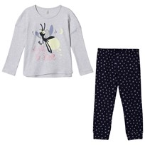 United Colors of Benetton Bug Print Sweater Pyjama Set Grey&Navy GREY&NAVY