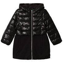 United Colors of Benetton Long Hooded Puffa Coat Black Black