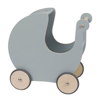 sebra Doll Stroller Wood Grey Musta