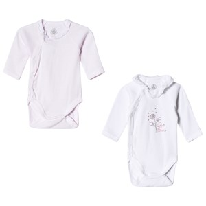 Image of Petit Bateau Pink and White Baby Bodies (2 Pack) 3 Months (2917218995)