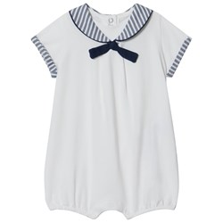 Mayoral White and Navy Striped Sailor Romper