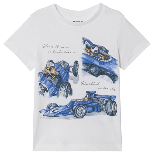 Mayoral White with Blue Racer Car Print Tee 74