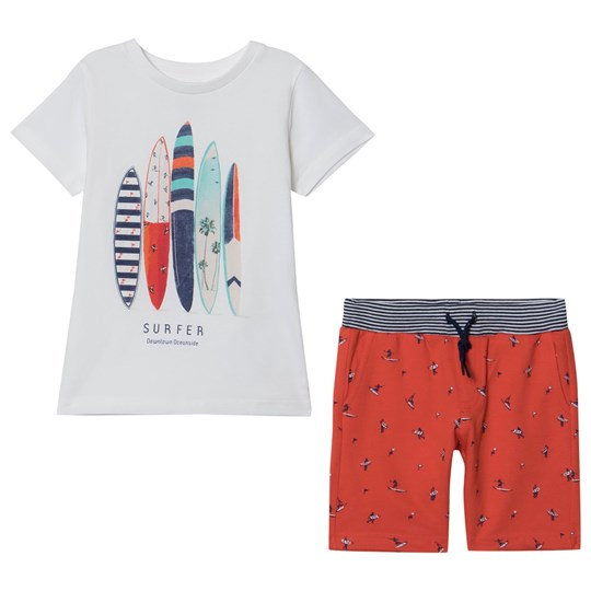 Mayoral White Surfboard Print Tee and Red Printed Shorts Set 92