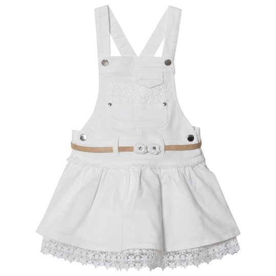 Mayoral White Lace Hem Overalls Dress 39