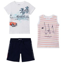 Mayoral White Graphic Tee, Stripe Vest and Navy Shorts Set