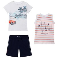 Mayoral White Graphic Tee, Stripe Vest and Navy Shorts Set 87