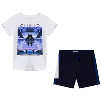 Mayoral White Surf Graphic Tee and Navy Shorts Set 79