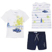 Mayoral White Tropical Print Tee, Vest and Shorts Set 77