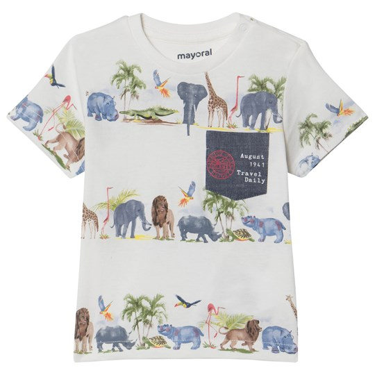 Mayoral Cream Jungle Animals Print Tee 24