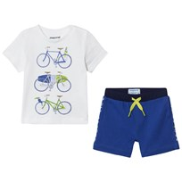 Mayoral White Bicycle Print Tee and Shorts Set 82