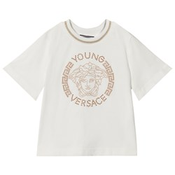 Versace White Stud Medusa with Lurex Detail Tee