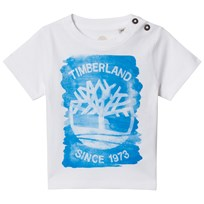 Timberland White and Blue Tree Logo Print Tee 861