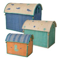 Rice Large Set of 3 Toy Baskets with Sea Theme Blue blue/mint/coral