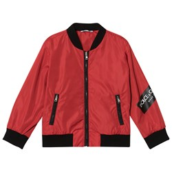 Dolce & Gabbana Red Bomber Jacket with Tape Logo