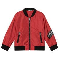 Dolce & Gabbana Red Bomber Jacket with Tape Logo R2254