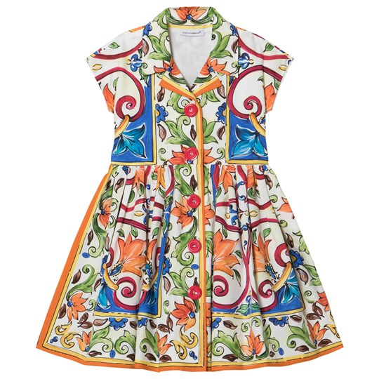 Dolce & Gabbana Majolica Print Cotton Shirt Dress HW681