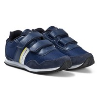 BOSS Navy Velcro Canvas Branded Trainers 828