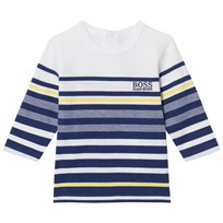 BOSS Blue and Navy Long Sleeve Stripe Tee 828