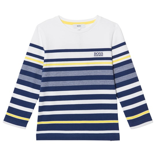 BOSS Navy and White Branded Long Sleeve Tee 828
