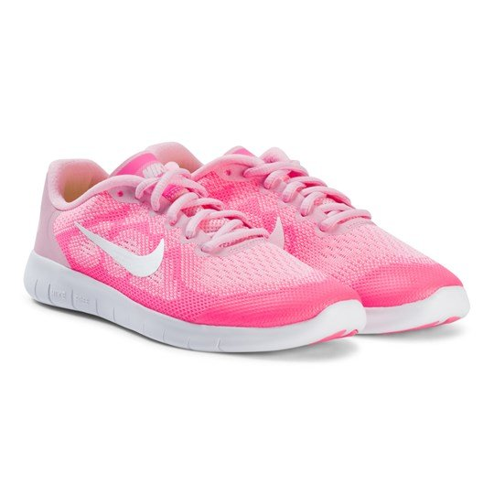 NIKE Pale Pink and White Nike Free Running Shoes 602