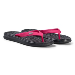 NIKE Black and Pink Solay Thong Flip Flops