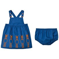 Stella McCartney Kids Blue Donkey Embroidered Raisin Dress 4262