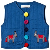 Stella McCartney Kids Navy Donkey and Pom Pom Quilted Twister Gilet 4262