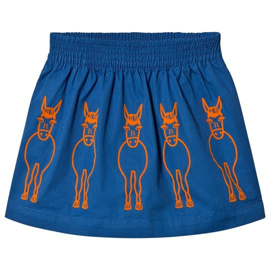 Stella McCartney Kids Royal Blue Donkey Embroidered Skirt with Bow Detail 4262