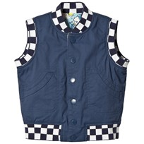 Stella McCartney Kids Navy Comic Print Rhubarb Reversible Gilet 4263