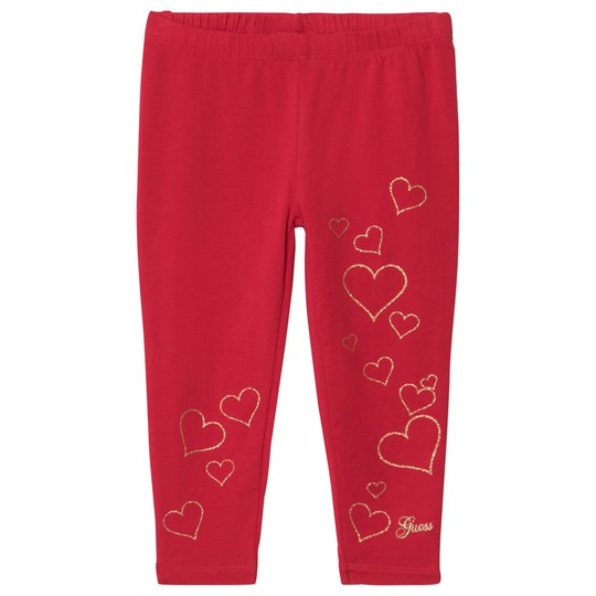 Guess Red Glitter Heart and Embroidered Leggings RHT