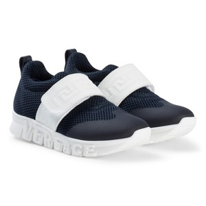 Image of Young Versace Navy Branded Velcro Strap Trainers 29 (UK 11) (2919323945)