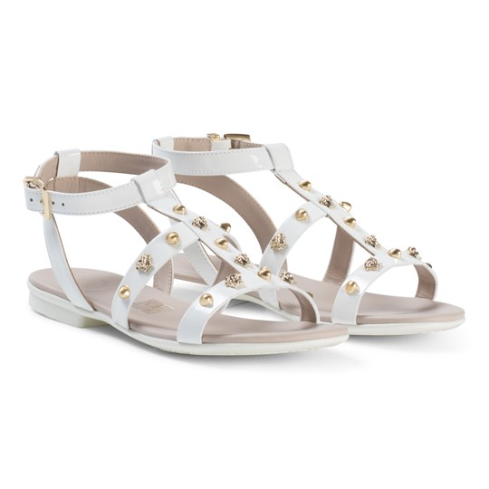 Versace White Medusa Gold Shell Sandals YS01O