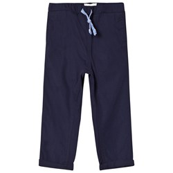 Carrément Beau Navy Cotton Trousers with Elasticated Waist