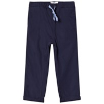 Carrément Beau Navy Cotton Trousers with Elasticated Waist 85T