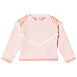 Carrément Beau Pale Pink Tassle Sweatshirt with Embroidered Leaf Detail