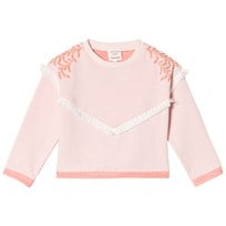 Carrément Beau Pale Pink Tassle Sweatshirt with Embroidered Leaf Detail S34