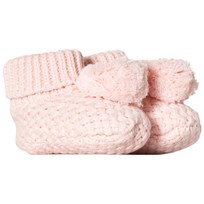 Carrément Beau Pale Pink Knit Pom Pom Booties 453
