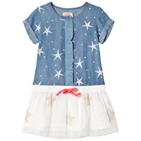 Billieblush Blue Star Print and Tulle Skirt Dress Z10