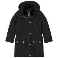 Barbour Black International Garrison Hooded Jacket with Faux Fur Collar Detail BK11