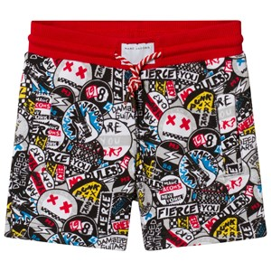 Image of Little Marc Jacobs Black All Over Print Badge Sweat Shorts 12 years (2920302151)