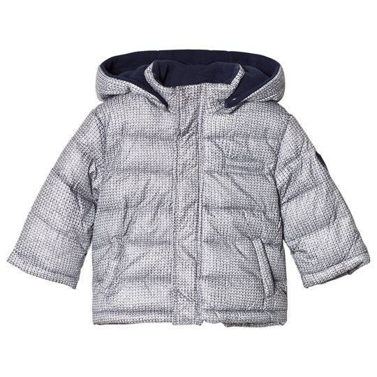 Mayoral Grey Knit Print Puffa Coat with Detachable Hood Marine blue