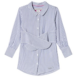Image of Pepe Jeans Blue and White Daisy Stripe Tie Waist Shirt Dress 10 years (2920301149)